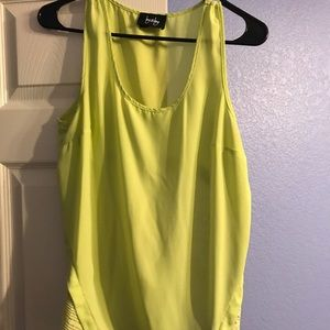 Lime green lace detailed flowy tank top